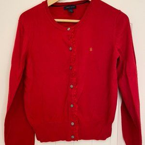 Tommy Hilfiger Red Ruffle Sweater